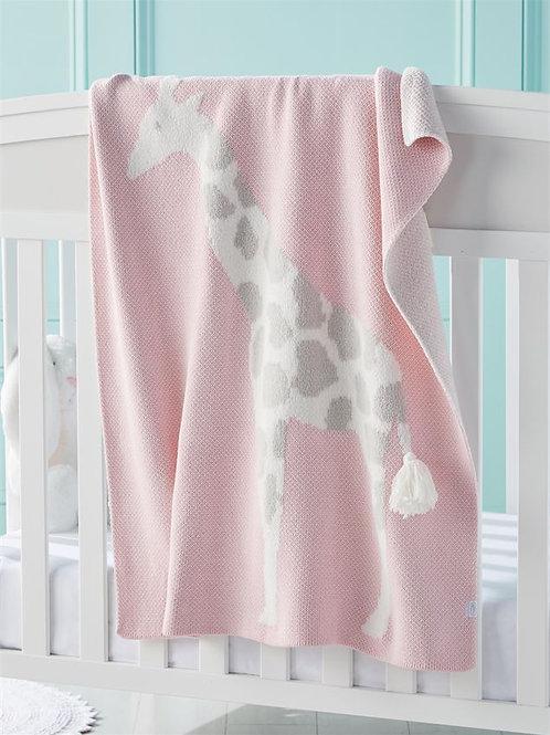 Pink Giraffe Chenille Blanket