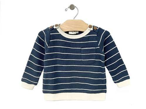 Storm Cloud Waffle Stripe Pullover