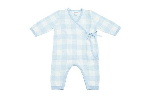Gingham Kimono Wrap Blue