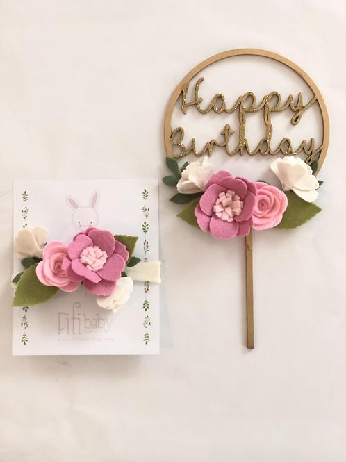 Happy Birthday Pink Cake Topper