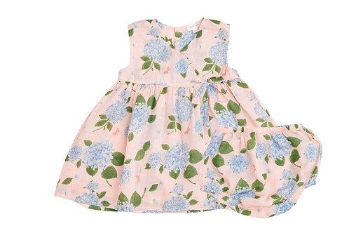 Hydrangea Kimono Dress and Diaper Cover pink