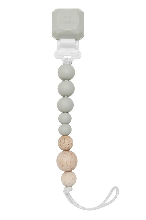 Cool Gray Silicone & Wood Pacifier Clip