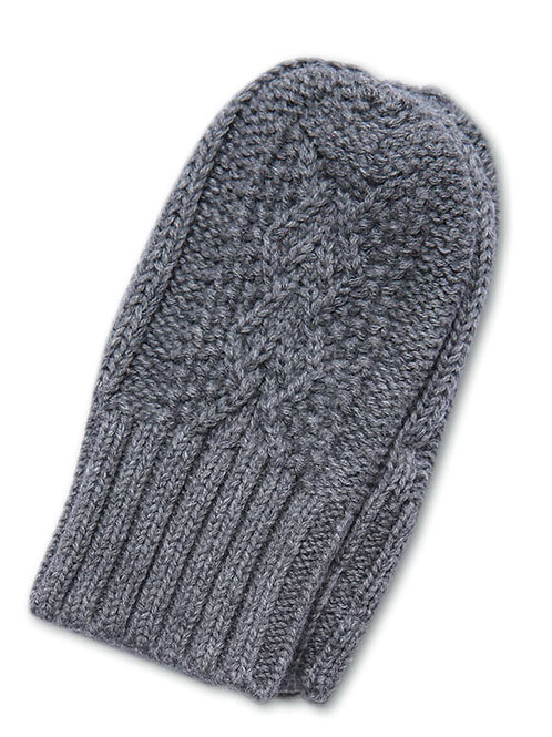 Dark Grey Cable Mittens