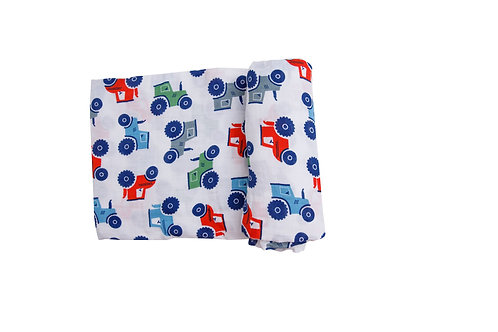 Tractors Swaddle Blanket White