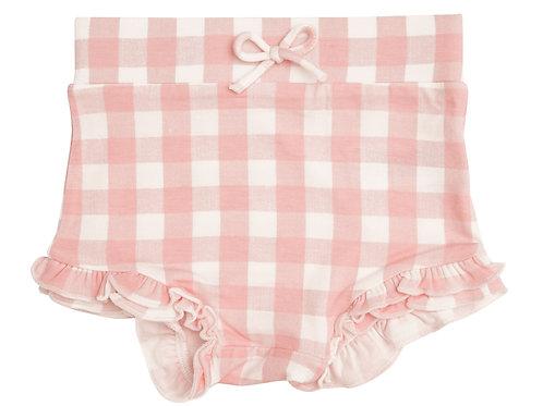 Gingham High Waist Shorts Pink