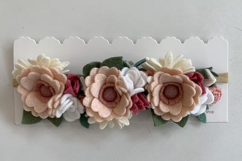 Tiara Grande de Flores Rosas