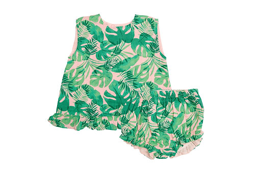 Tropical Leaves Pink Ruffle Top and Bloomer