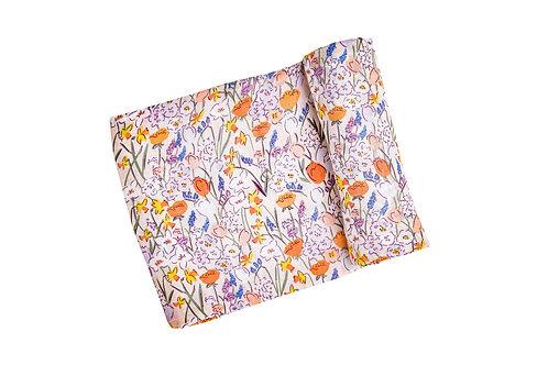 Springtime Floral Swaddle Blanket Multi