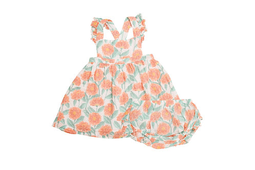Marigold Garden Pinafore Top and Bloomer Orange Multi