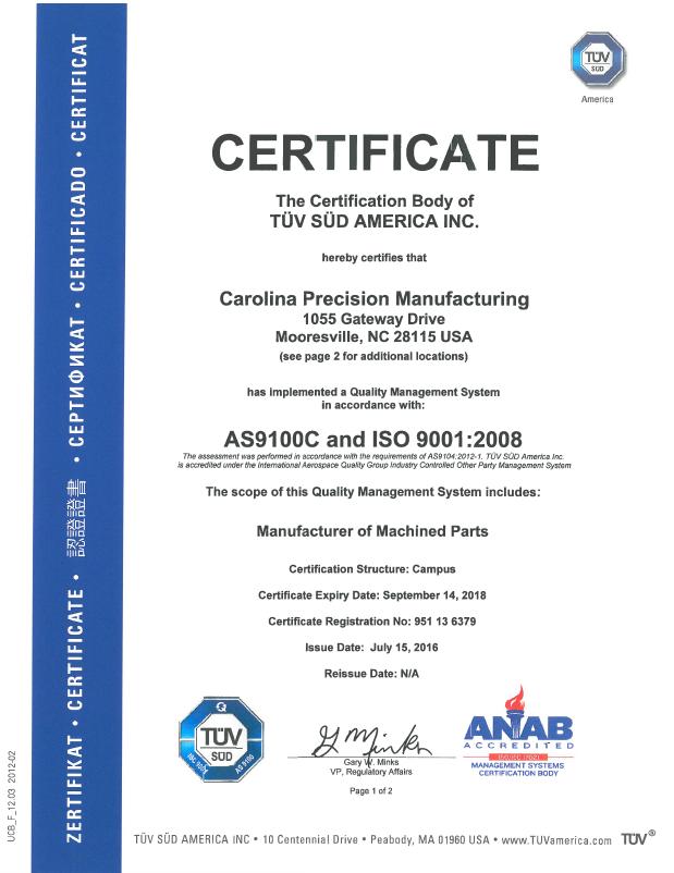 Carolina Precision Manufacturing | Certifications
