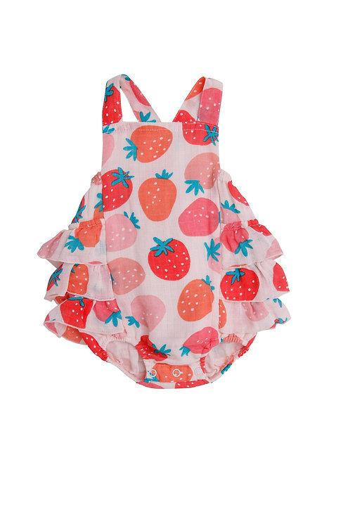 Strawberries Ruffle Sunsuit