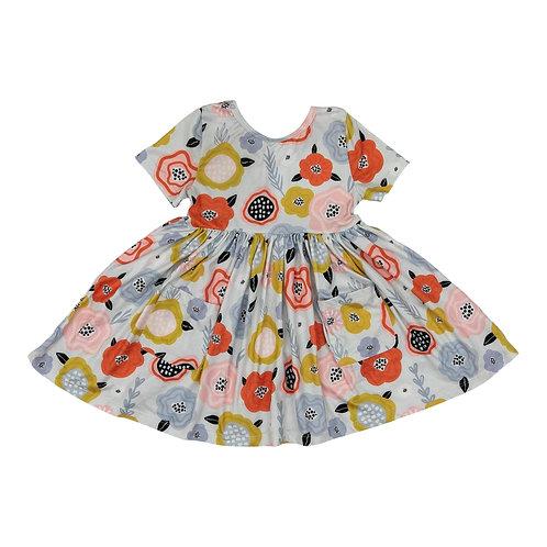 Sky Blue Retro Floral Short Sleeve Pocket Twirl Dress