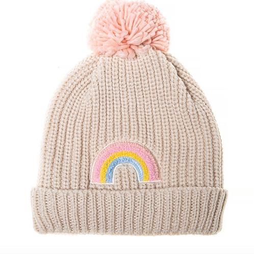 Dreamy Rainbow Knit Bobble Hat
