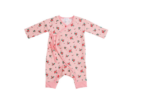 Mini Rose Wrap Coverall Pink