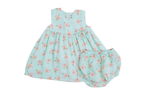 Petite Rose Kimono Dress and Diaper Blue