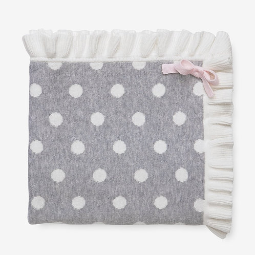 Gray Dot Ruffle Blanket