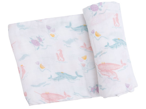 Pretty Ocean Swaddle Blanket Pink