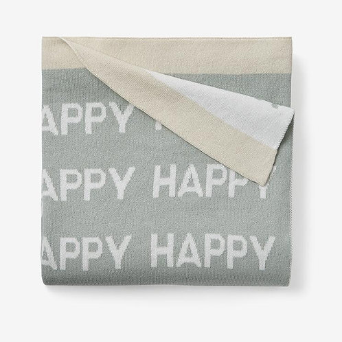 Sage Happy Cotton Knit Baby Blanket