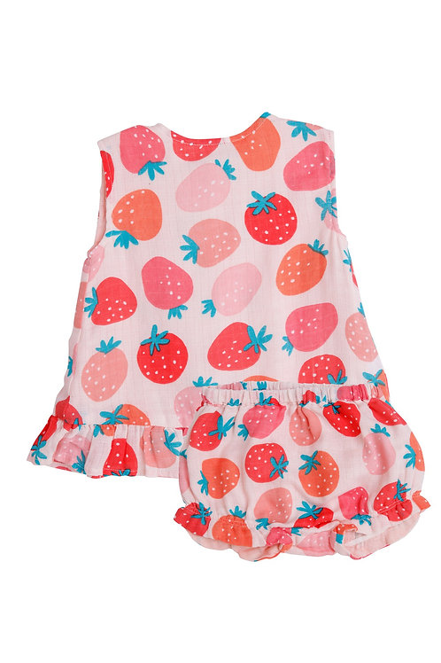 Strawberries Ruffle Top and Bloomer