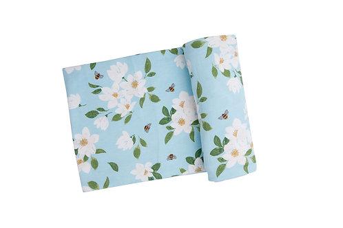 Magnolia Blue Swaddle Blanket Blue
