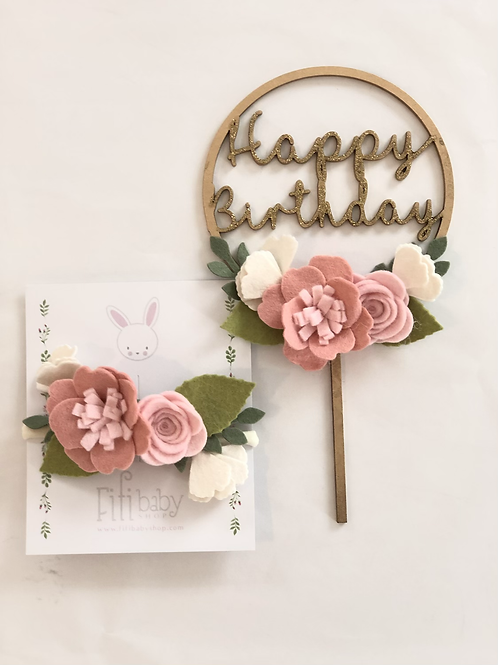 Happy Birthday Pale Pink Cake Topper