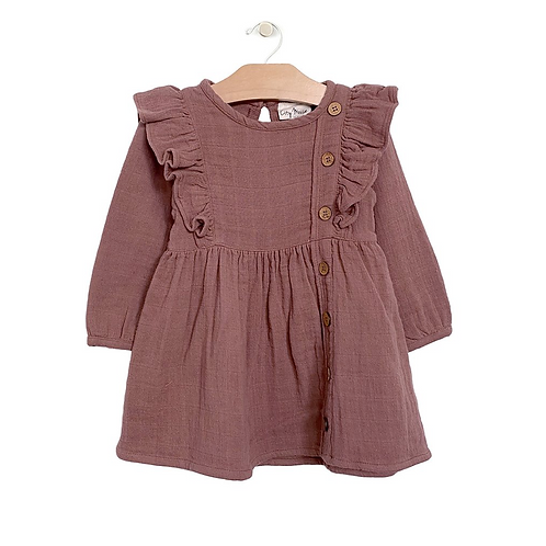 Rosewood Muslin Placket Dress