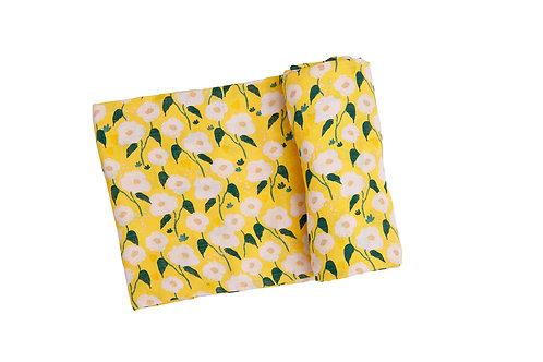 Golden Floral Swaddle Blanket