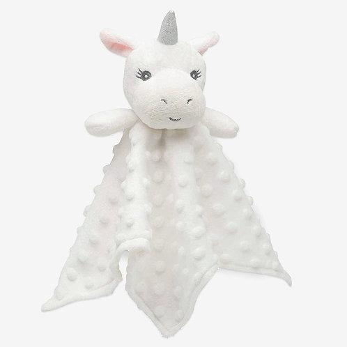 Minky Dot White Unicorn Baby Security Blanket