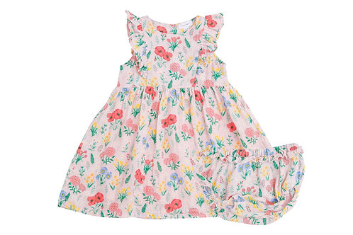 Summer Floral Dress and Diaper Cover Pink