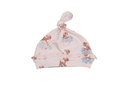 Woodland Deer Ruffle Knotted Hat
