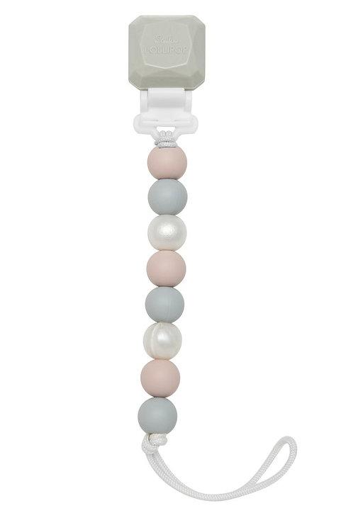 Lolli Holder Rose Grey Pacifier Clip