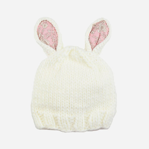 Pink Bailey Bunny Knit Hat with Liberty Fabric