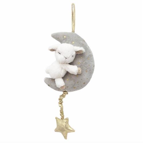 Plush Lamb and Moon Musical Mobile