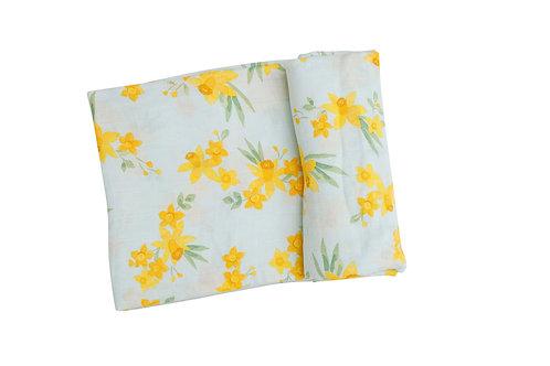 Daffodils Swaddle Blanket Mint