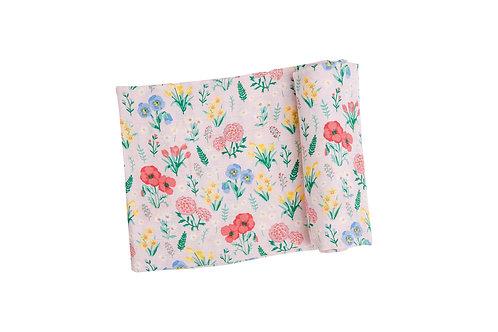 Summer Floral Swaddle Blanket Pink