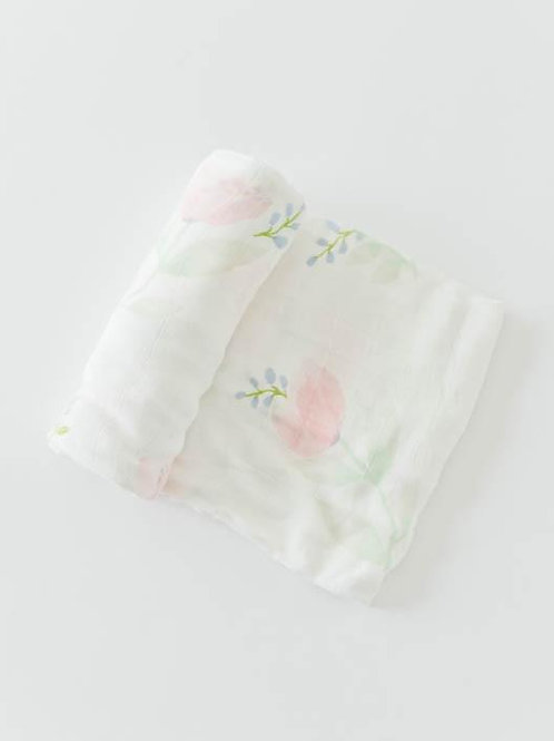 Pink Peony deluxe Muslin Swaddle
