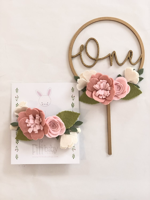 One Pale Pink Cake Topper