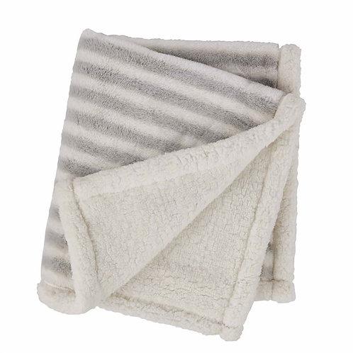 Grey Striped Faux Fur Blanket