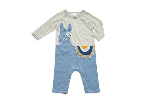 Llama Knits Alpaca Coverall Blue