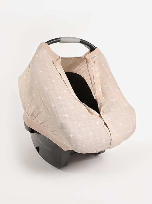 Taupe Cross Car Seat Canopy