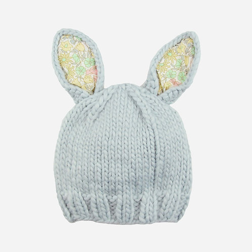 Grey Bailey Bunny Knit Hat with Liberty Fabric