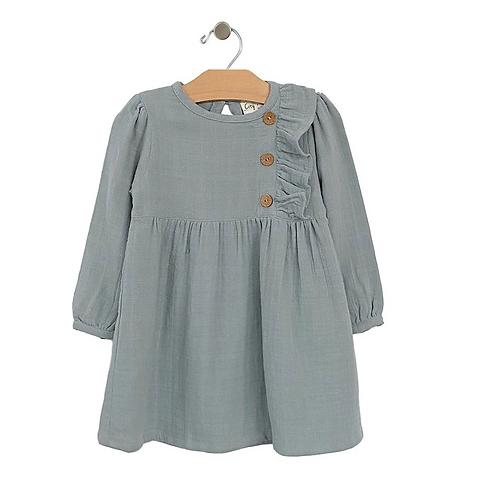 Stillwater Blue Side Button Dress