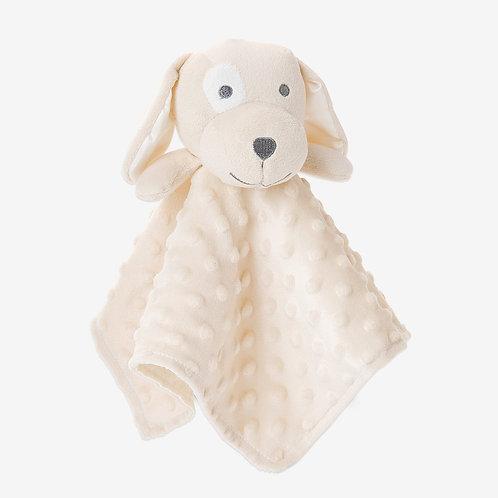 Minky Dot Tan Puppy Baby Security Blanket