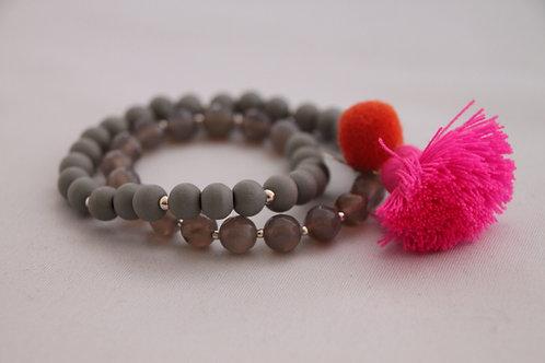 "Armband ""Mala Twin Grey Pink"" von Schmückstück"