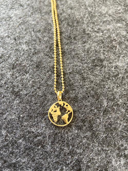 "Kette ""Weltkarte"" aus 925er Sterling-Silber vergoldet"