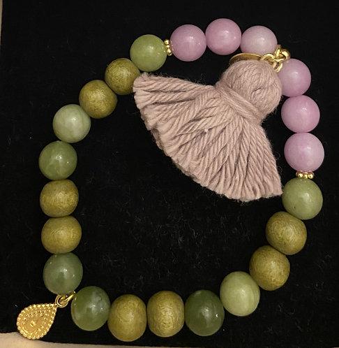"Armband ""Mala Single Olive Purple"" von Schmückstück"