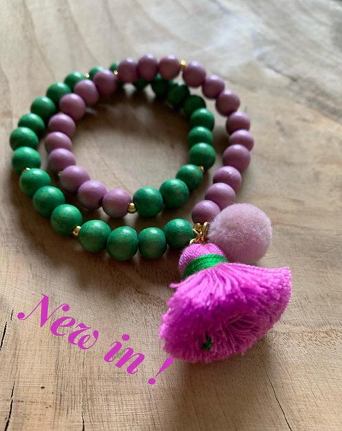 "Armband ""Mala Twin Sweet Lilac & Pistachio"""