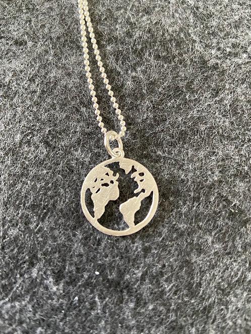 """Kette """"Weltkarte"""" aus 925er Sterling-Silber"""