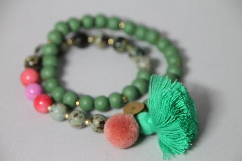 "Armband ""Mala Twin Green Colour"" von Schmückstück"