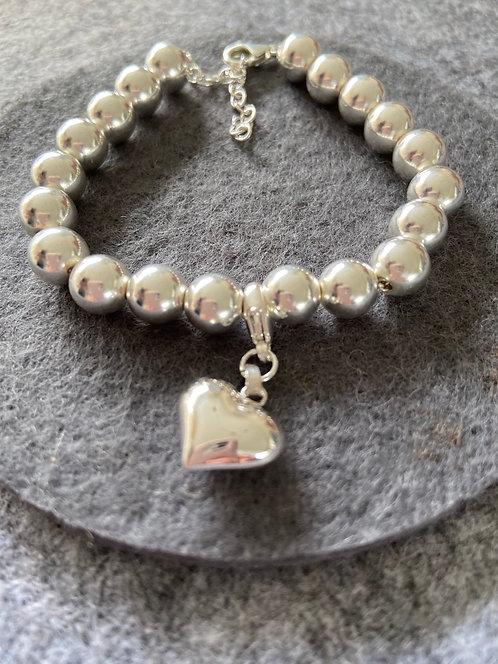 Herz-Armband aus 925er Sterling-Silber (Kugelkette -8mm-)